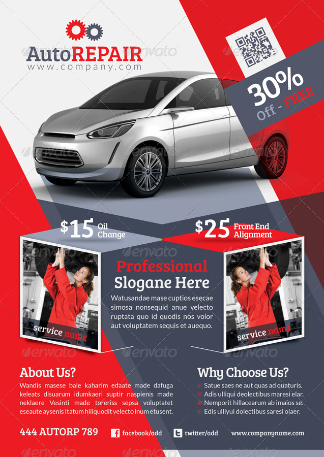 automobile repair flyer template by grafilker
