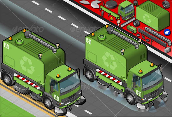 Isometric Garbage Cleaner Truck in Front View - Conceptual Vectors