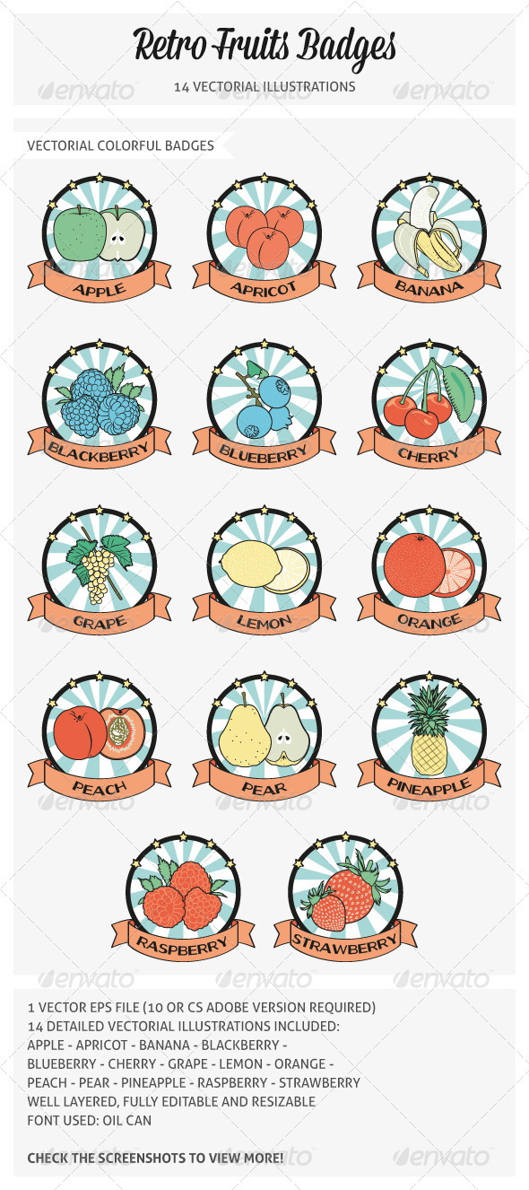 Retro Fruits Badges Vectorial Illustrations - Food Objects