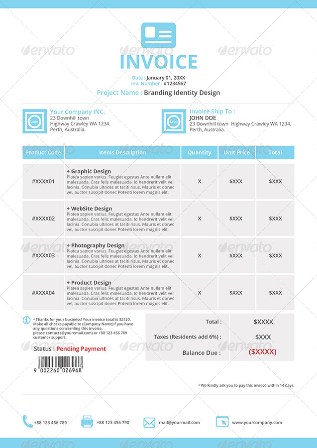 Invoices Pdf Word Gstudio Invoices And Receipt Template By Terusawa  Graphicriver Taxi Receipt Maker with Attached Invoice Excel Gstudio Invoices And Receipt Template  Proposals  Invoices Stationery   Imagesetinvoicebluejpg  Quickbooks Cancel Invoice