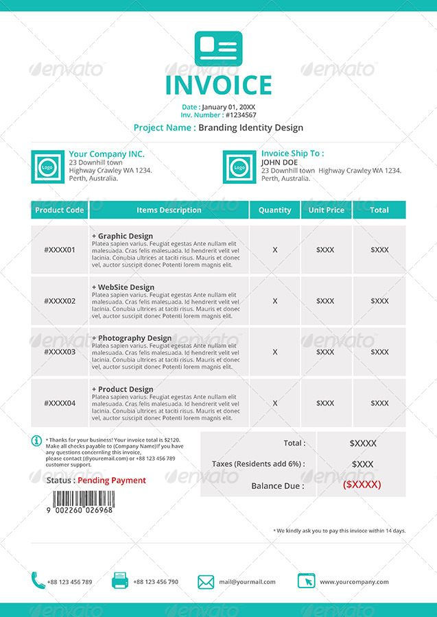 Gstudio Invoices And Receipt Template By Terusawa Graphicriver