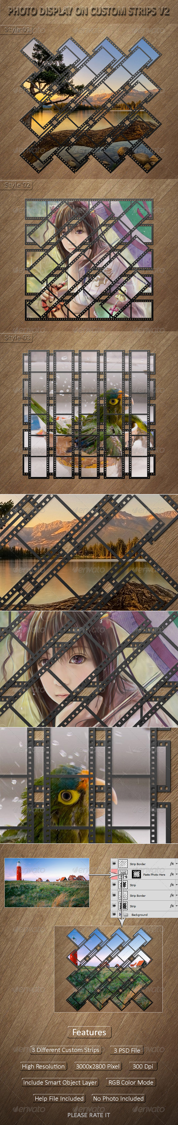 Photo Display on Custom Strips V2 - Photo Templates Graphics
