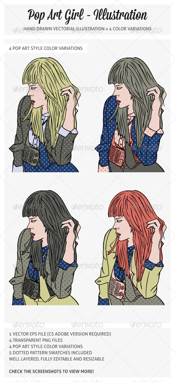 Pop Art Girl Illustration - People Characters