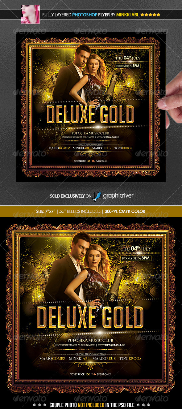 Deluxe Gold Poster/Flyer - Clubs & Parties Events