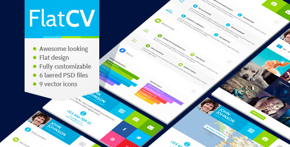 FlatCV - vCard Resume PSD Template - Virtual Business Card Personal