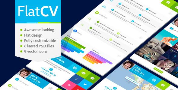 FlatCV – vCard Resume PSD Template