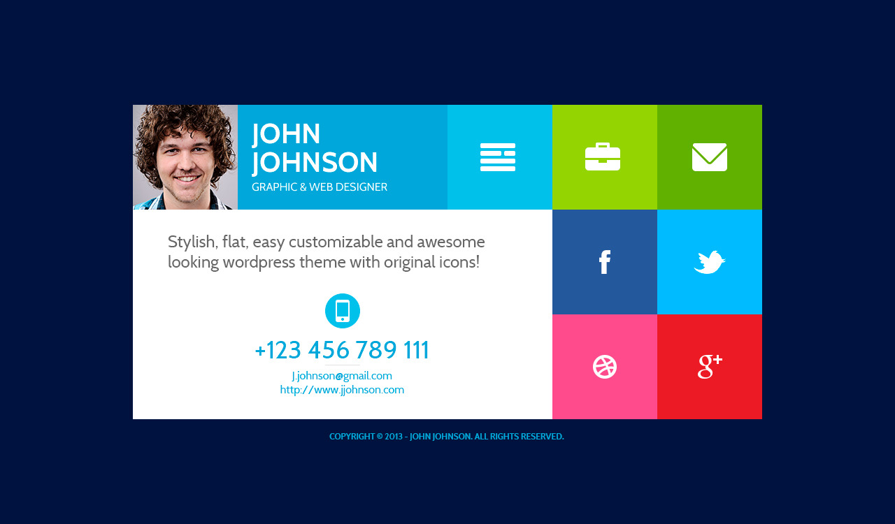 Flatcv Vcard Resume Psd Template By Themerex Themeforest