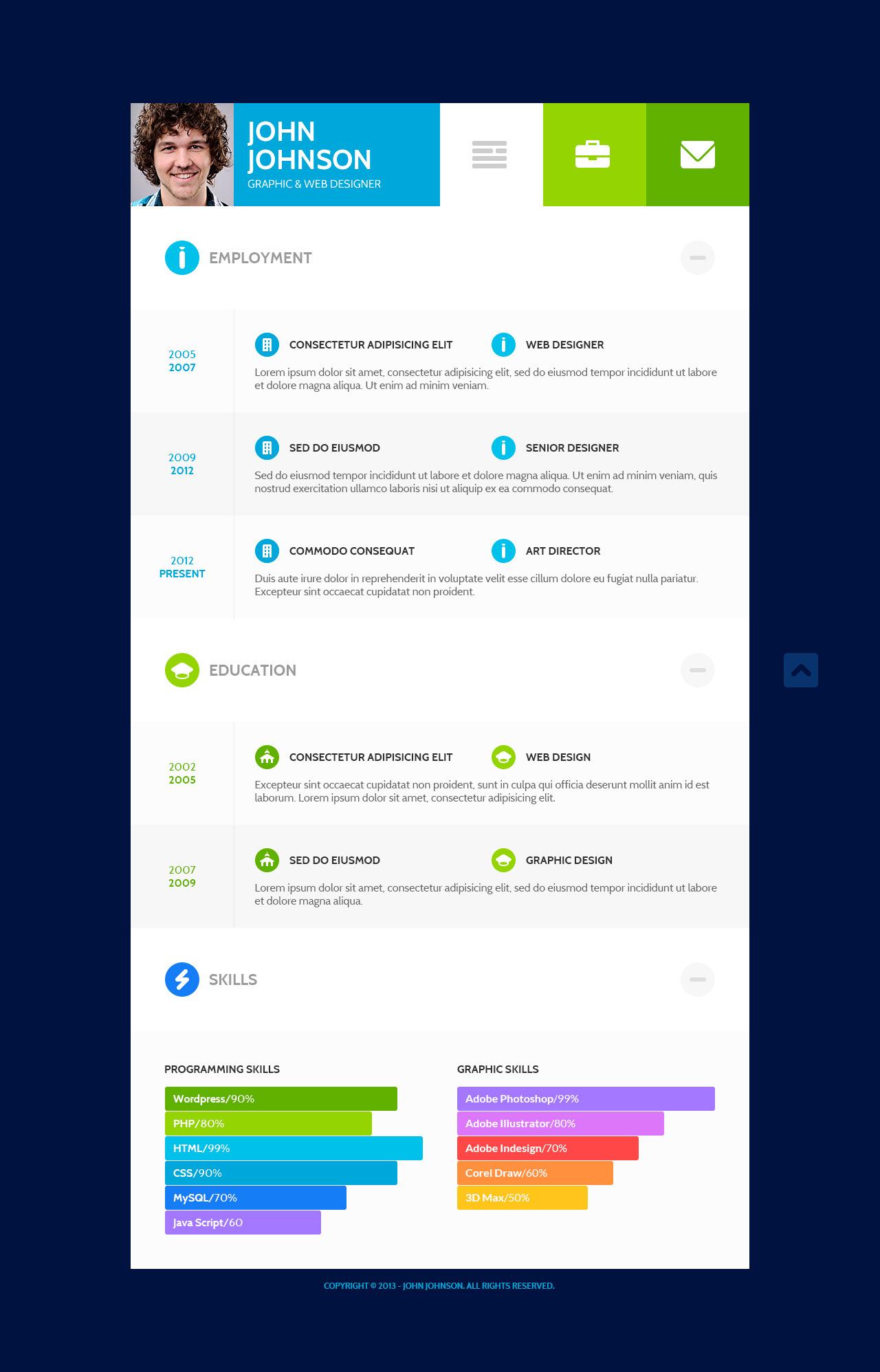 Flatcv  Vcard Resume Psd Template By Themerex  Themeforest