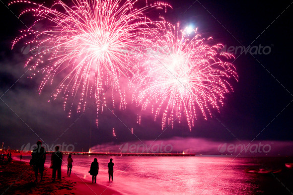 Fireworks By The Sea - Stock Photo - Images