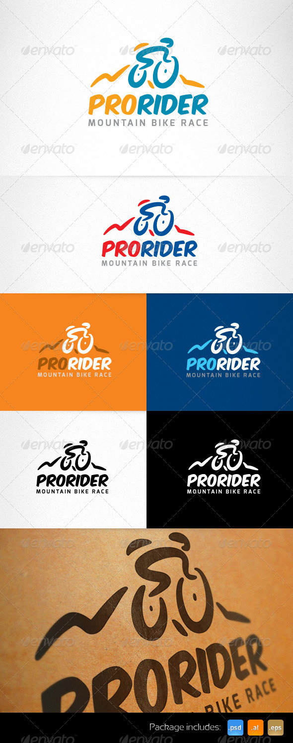 Mountain Sport Bike Race Creative Logo  - Humans Logo Templates