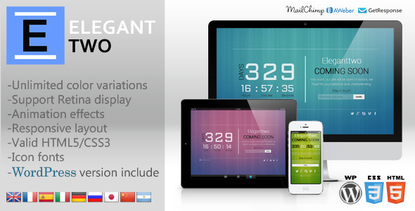 ElegantTwo – Animation Responsive Coming Soon Page