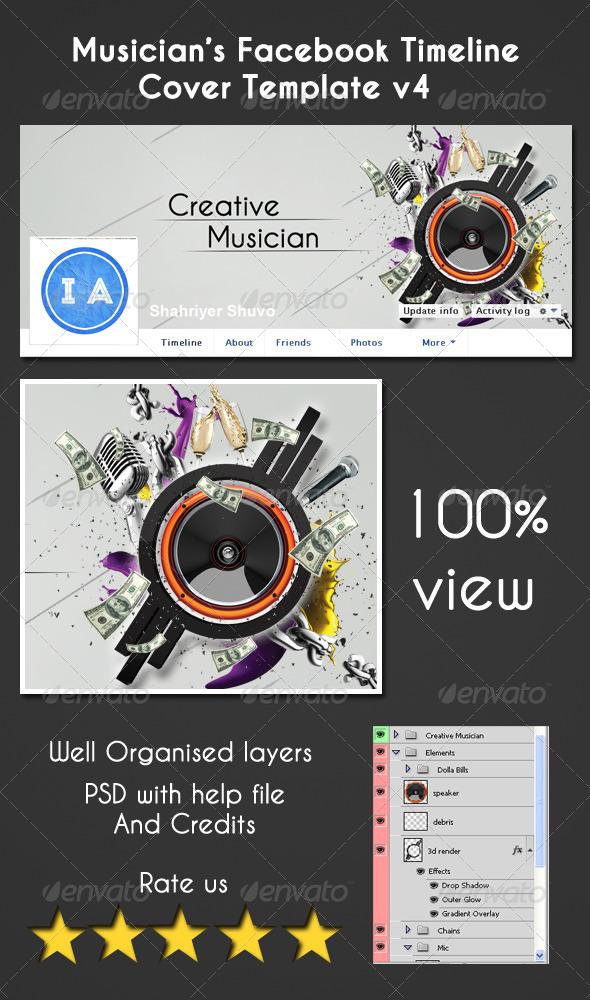 Musician's Facebook Timeline Cover V4 - Facebook Timeline Covers Social Media