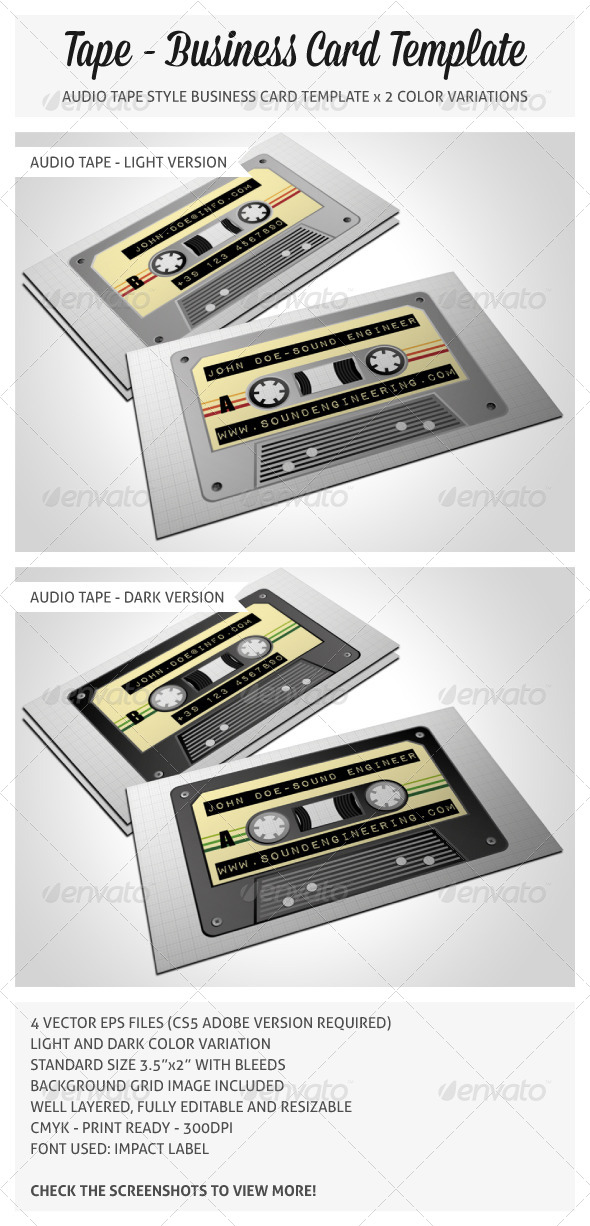 Audio Tape Business Card - Real Objects Business Cards
