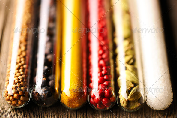 Spices in beakers close-up - Stock Photo - Images