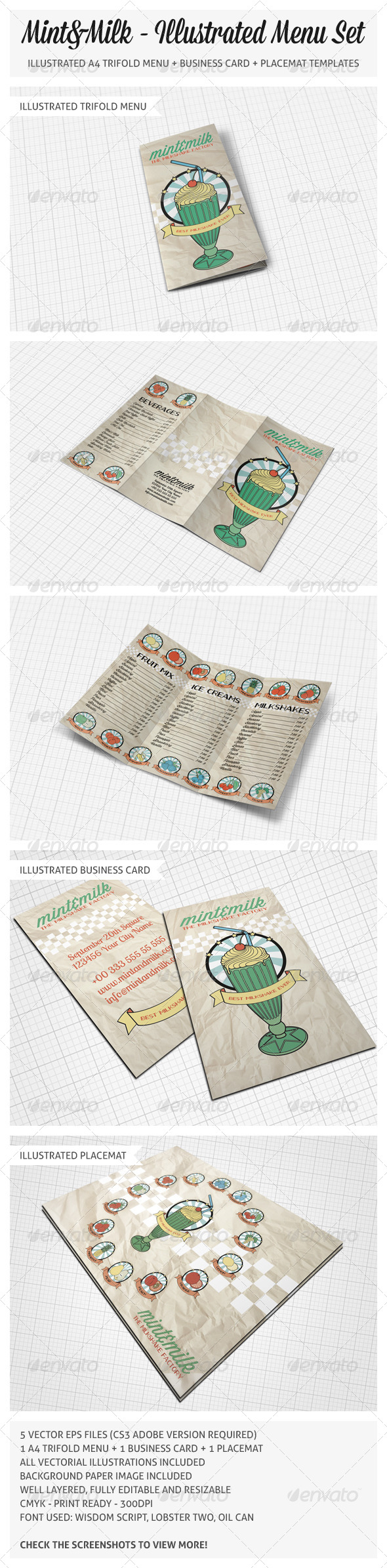 Illustrated Trifold Menu Set  - Food Menus Print Templates