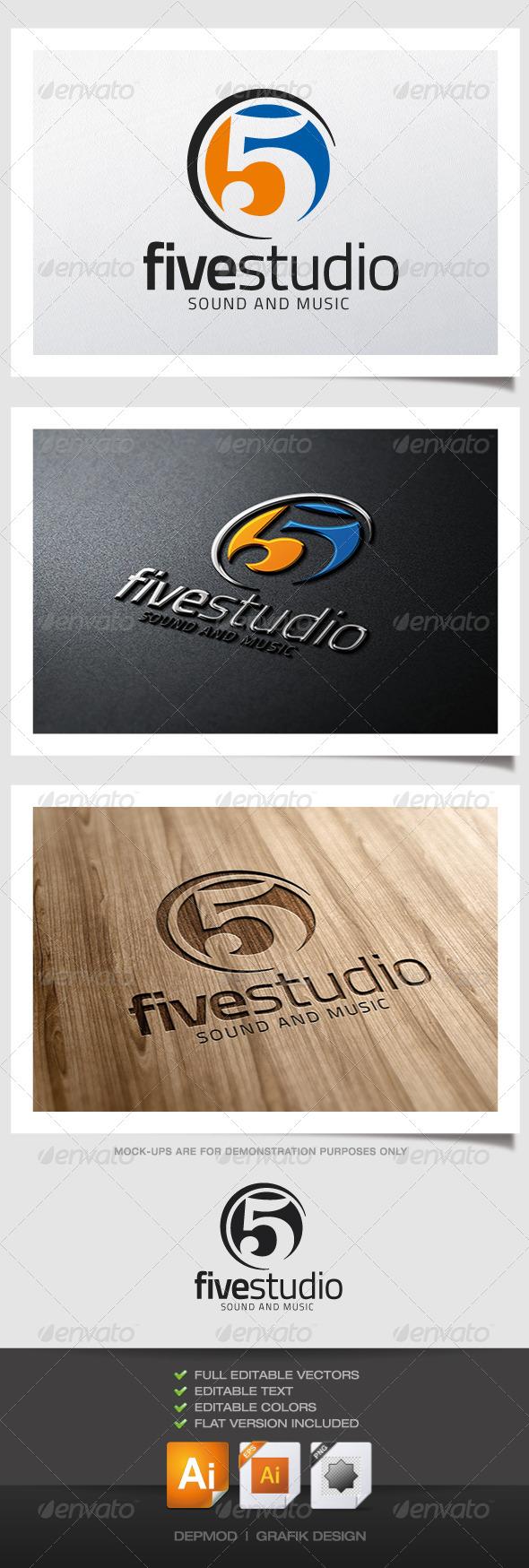 Five Studio Logo - Numbers Logo Templates