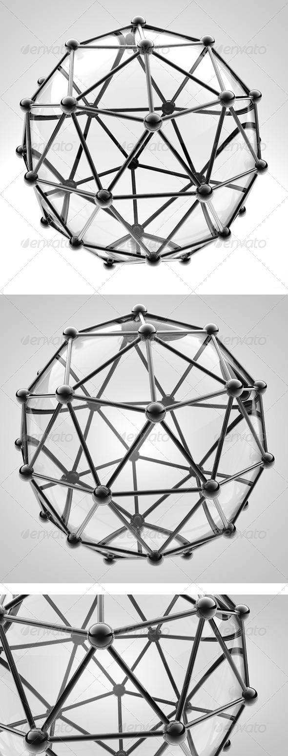 3 Scientific 3D Model of the Molecule an Atom  - Objects 3D Renders