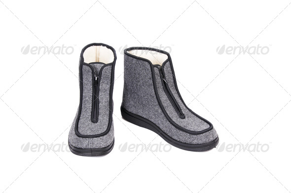 Winter gray shoes on a white. - Stock Photo - Images