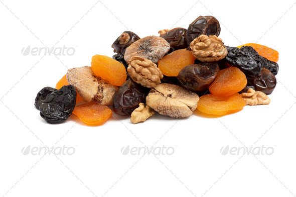 Heap of dried fruits and walnuts. - Stock Photo - Images