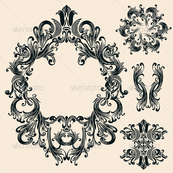 Vintage Decorative Floral Frames Set - Flourishes / Swirls Decorative