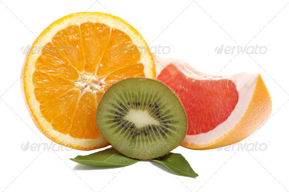 Tropical fruits on a white. - Stock Photo - Images