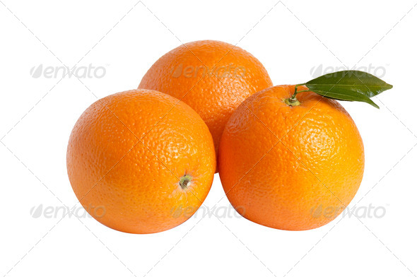 Three oranges on a white. - Stock Photo - Images