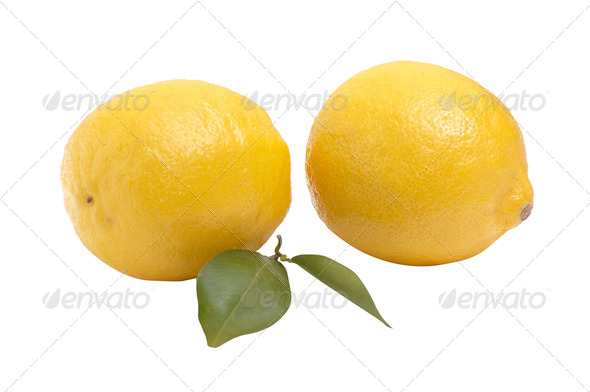 Two juicy lemons  on a white background. - Stock Photo - Images