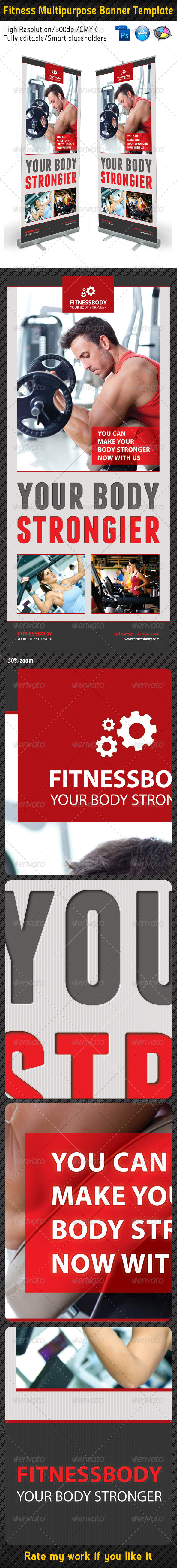 Fitness Multipurpose Banner Template - Signage Print Templates