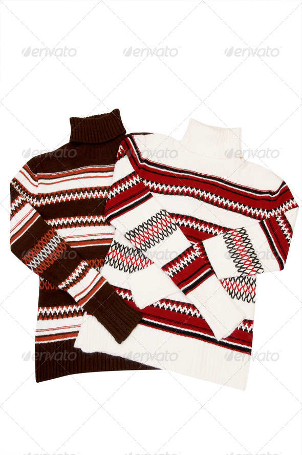 Winter comfortable sweaters on a white. - Stock Photo - Images