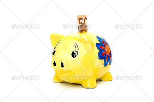 Fifty euro and piggy bank.  - Stock Photo - Images