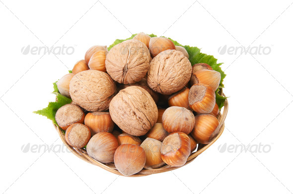 Ripe nuts in the basket. - Stock Photo - Images