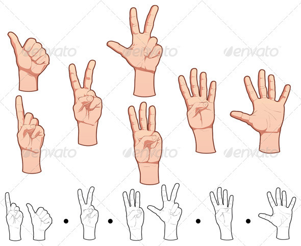 Hands and numbers. - Miscellaneous Vectors