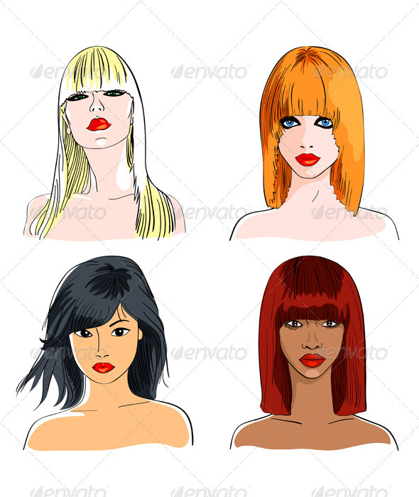Vector set blond and foxy caucasian, asian and afr - People Characters