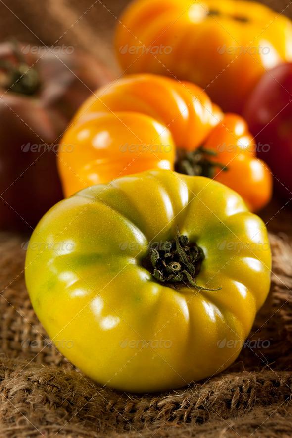 Fresh Organic Ripe Heirloom Tomatoes - Stock Photo - Images