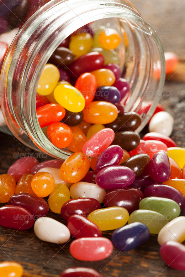 Colorful Mixed Fruity Jelly Beans - Stock Photo - Images