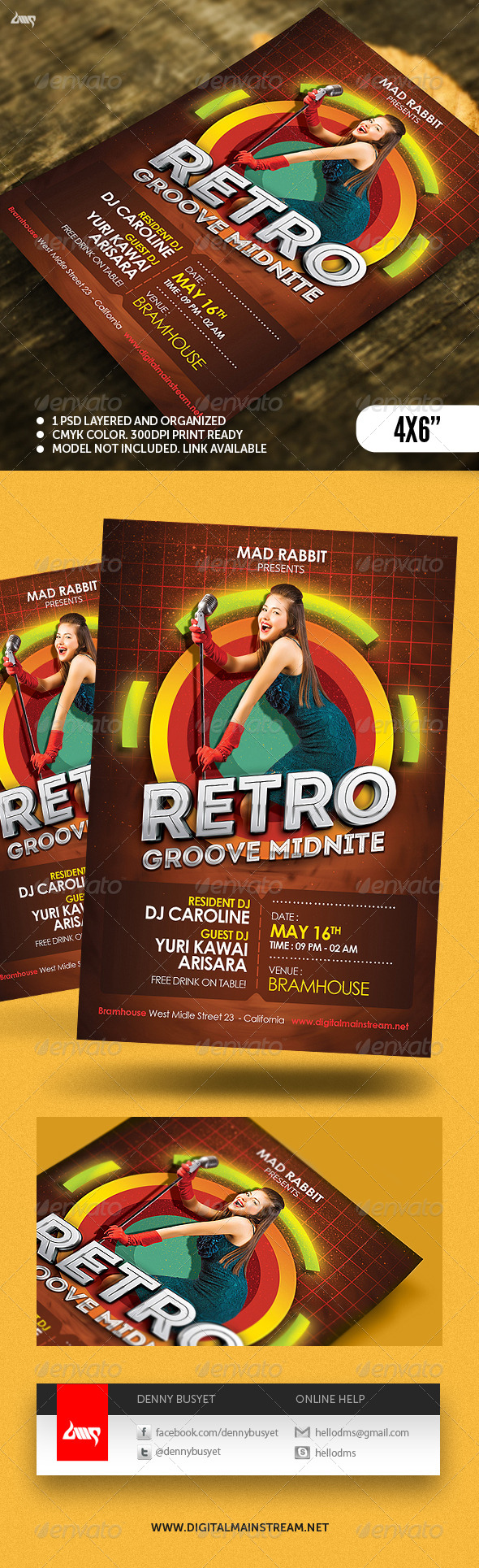 Retro Groove Club Flyer Psd Template