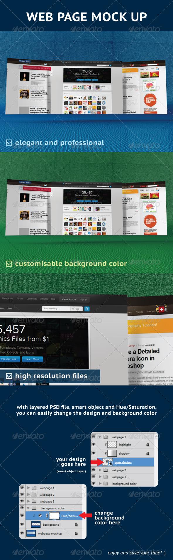 Web Page Mock-Up - Website Displays