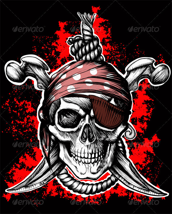 Black Jolly Roger Skull - Monsters Characters