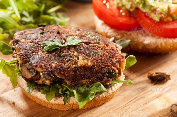 Homemade Organic Vegetarian Mushroom Burger - Stock Photo - Images