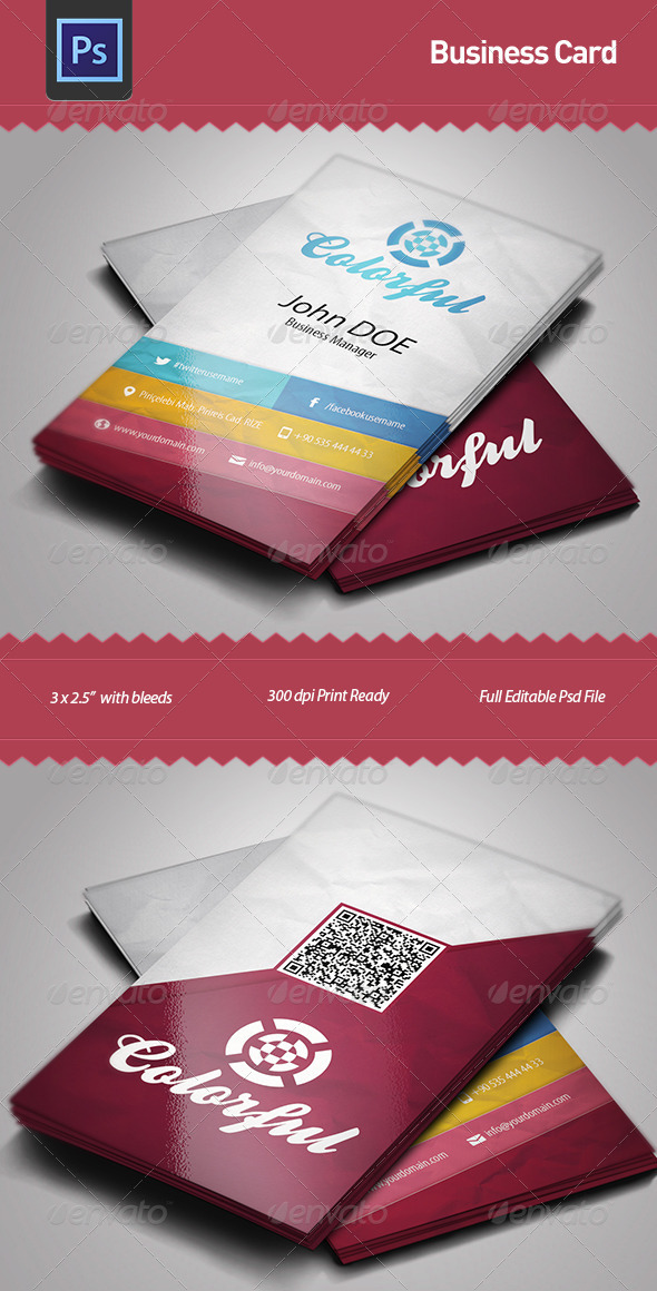 Business Card Template Colorful by fgunay | GraphicRiver