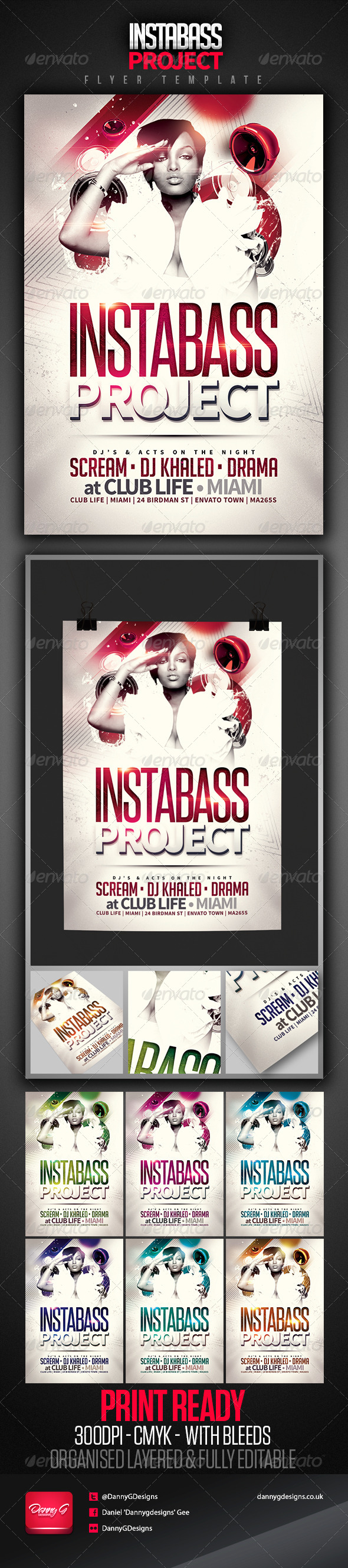 Instabass Project Party/Club Flyer Template - Clubs & Parties Events