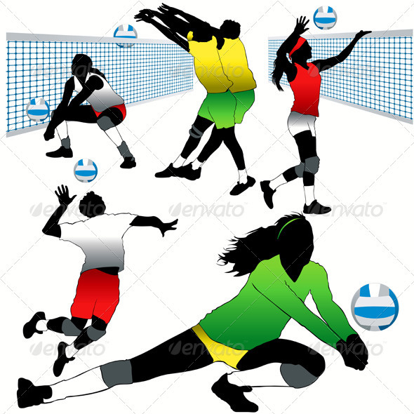 Voleyball Players Silhouettes Set - Sports/Activity Conceptual