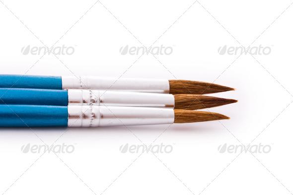 paintbrushes isolated - Stock Photo - Images