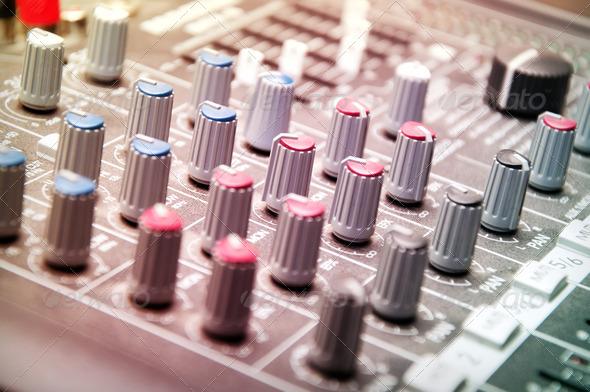 sound mixer in studio - Stock Photo - Images