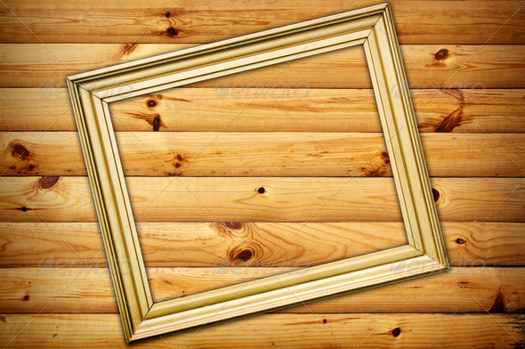 frame on wooden background - Stock Photo - Images