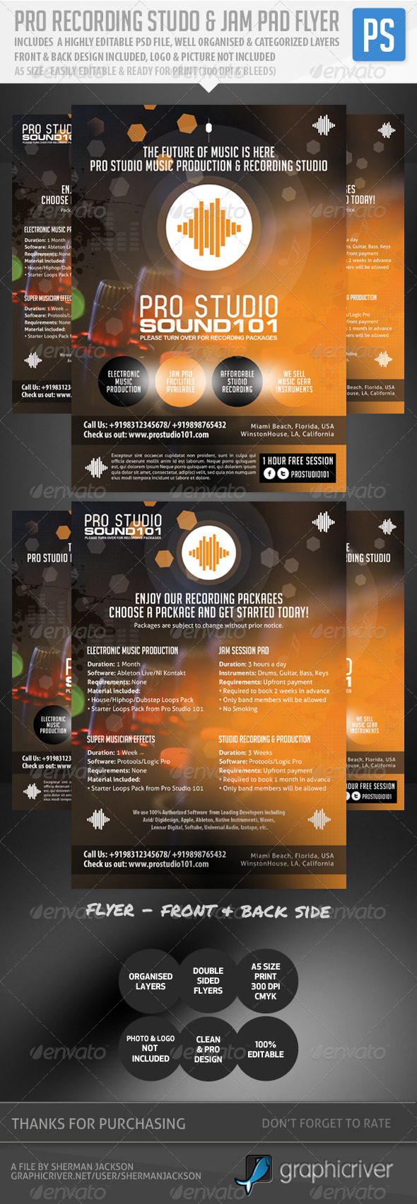 Pro Recording Studio & Jam Pad Flyer - Corporate Flyers