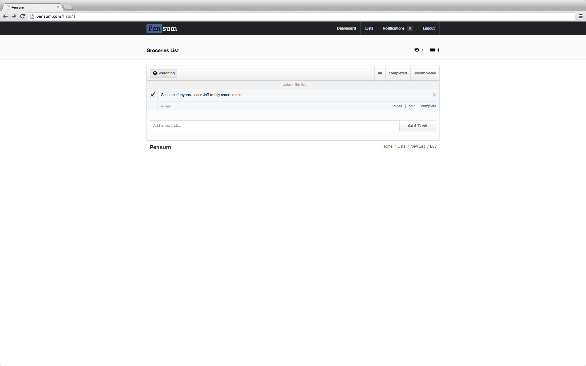 Pensum - Task Sharing Platform