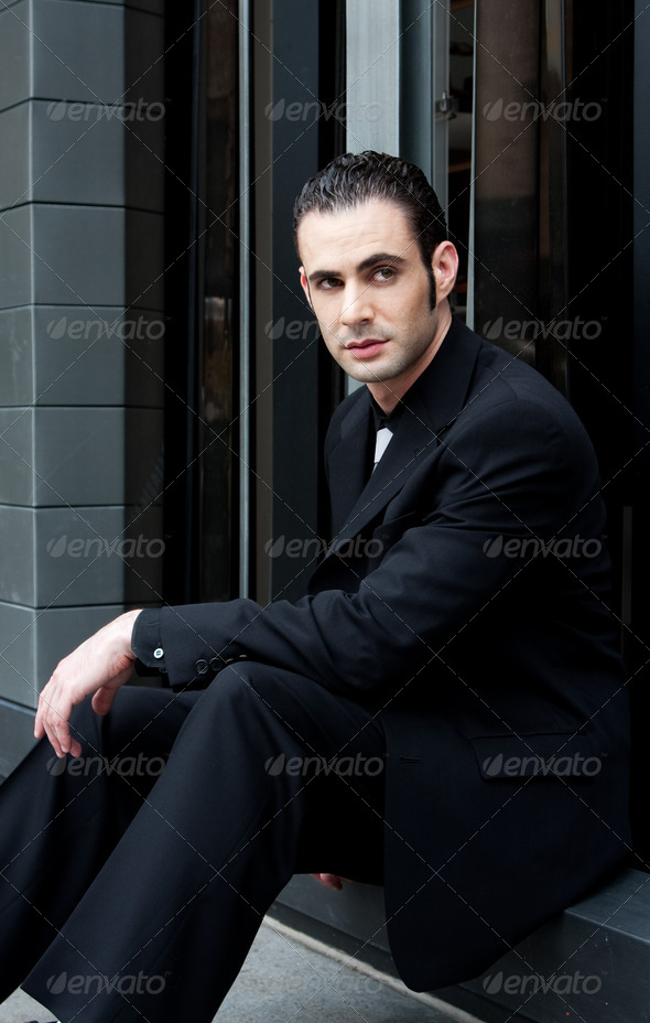 Business man sitting - Stock Photo - Images