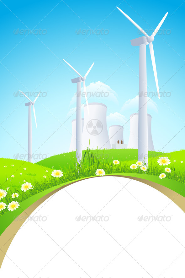 Green Landscape with Windmills and Nuclear Power P - Backgrounds Business