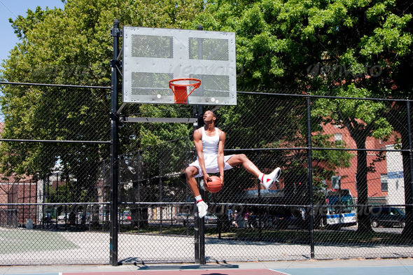 Jumping basketball player - Stock Photo - Images